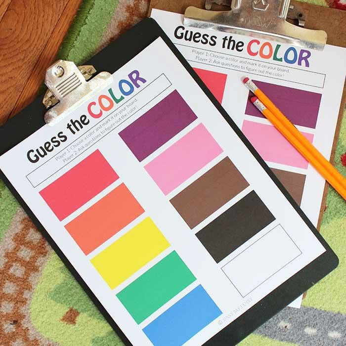 A Fun Guessing And Color Game For Kids Comes With A Free Printable Game Board Color Games Free Games For Kids Games For Kids