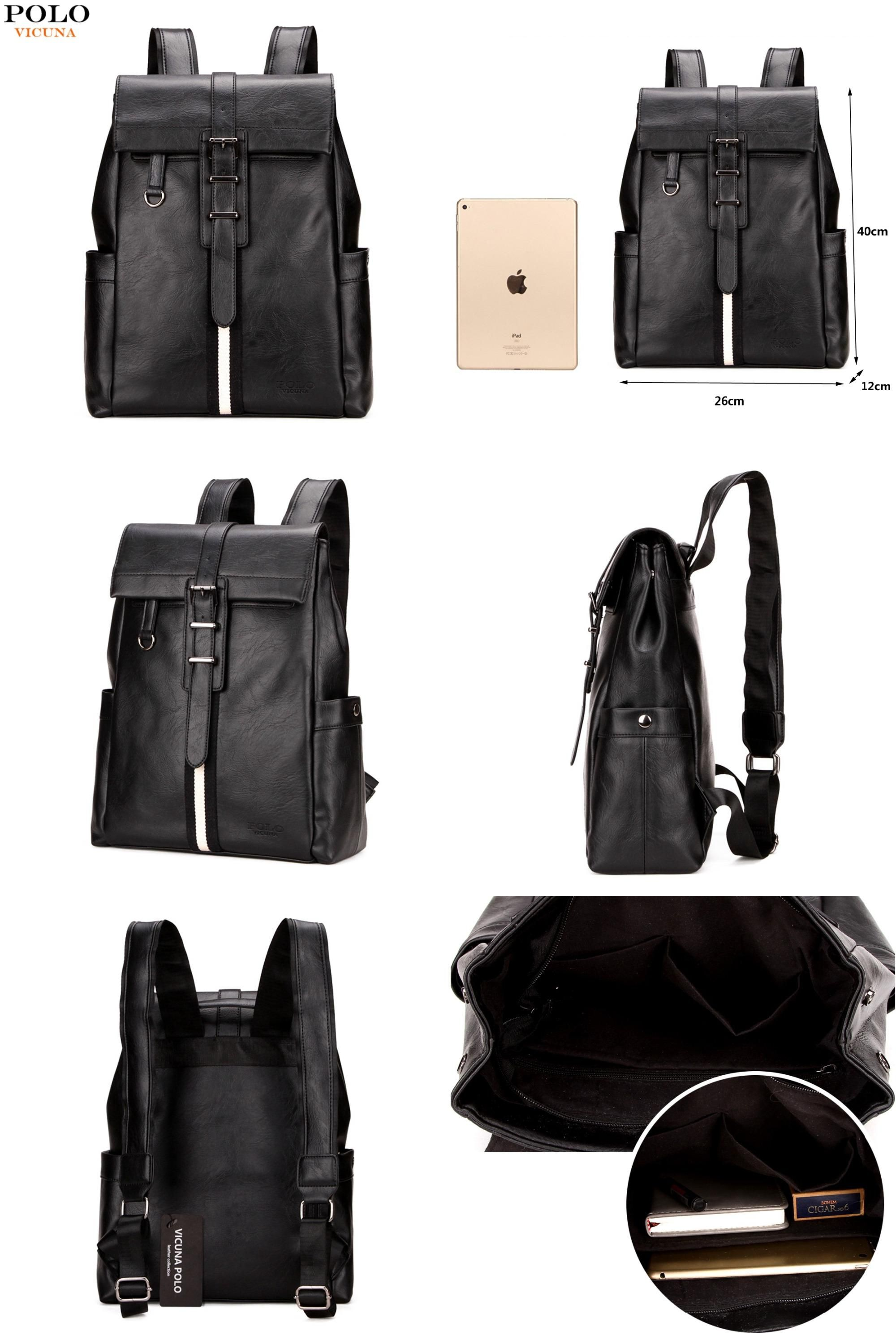 bd1876b73a02  Visit to Buy  VICUNA POLO Fashion Striped Men Leather Backpack Bag Large  Capacity Cover