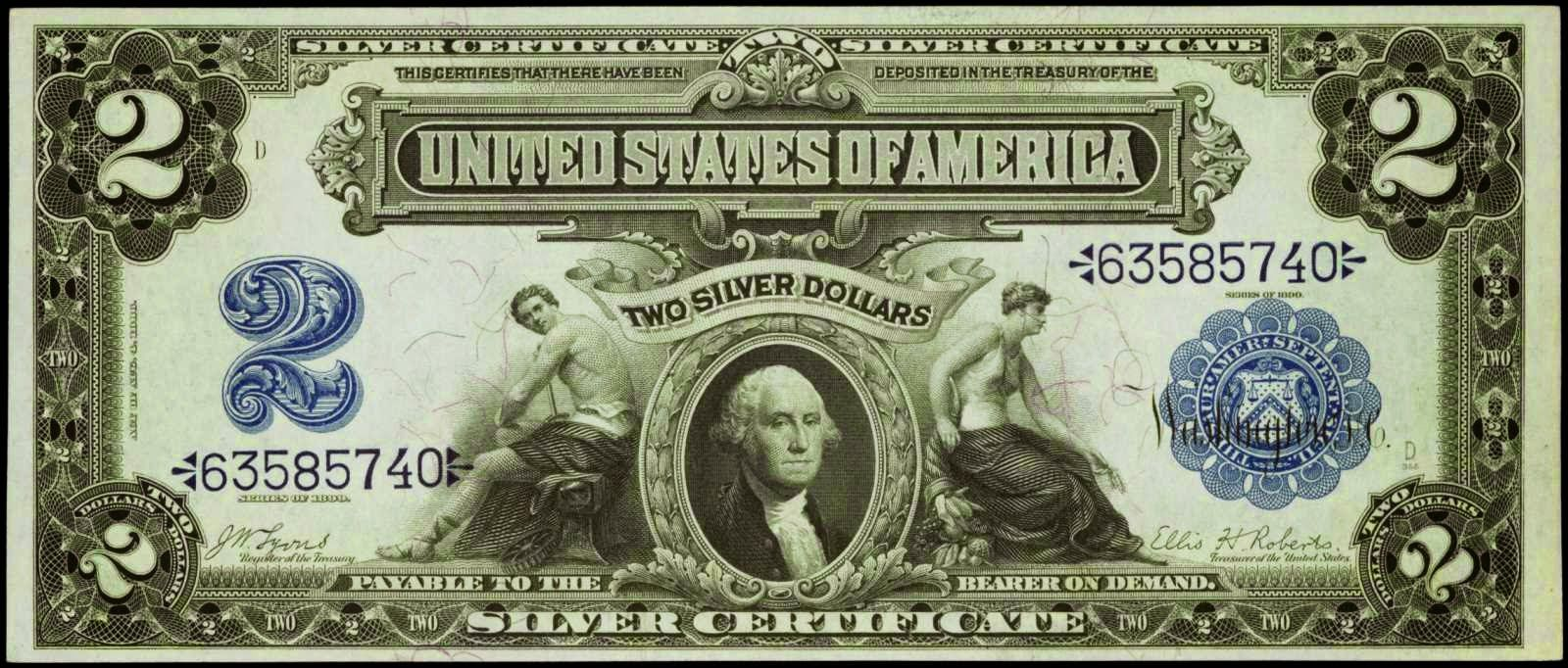 1899 2 Silver Certificate Agricultural Note Or Mini Porthole