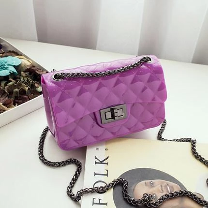 Fashion Girl candy color shoulder bag lovely PVC Jelly chain bag rhombusintothea #chainbags