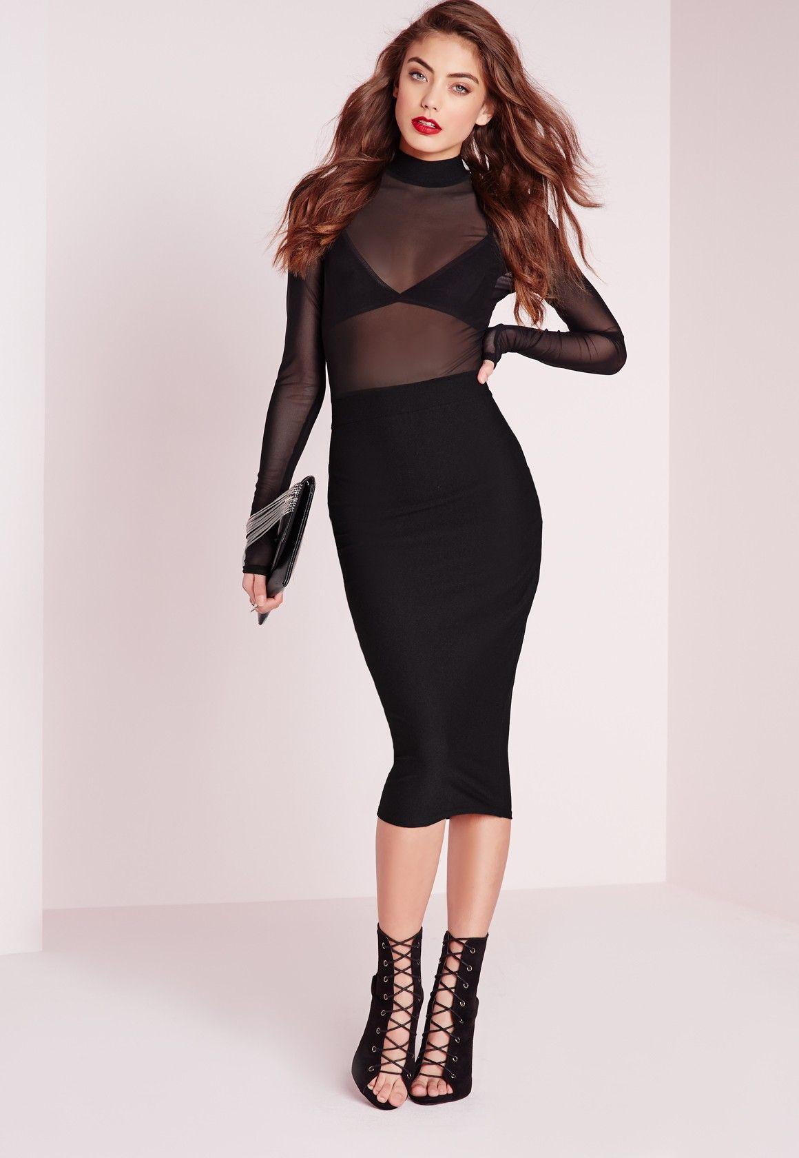 Missguided long sleeve mesh top midi dress black workout