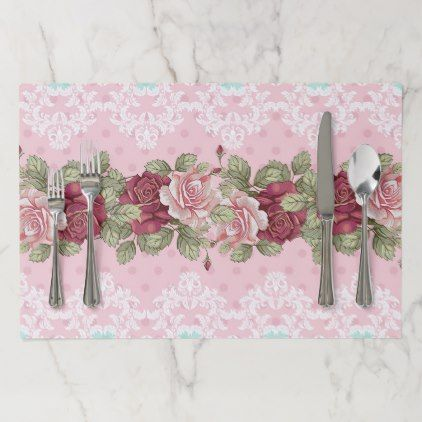 Shabby Chic Wedding Flower in Pink, Maroon & Teal Paper Placemat