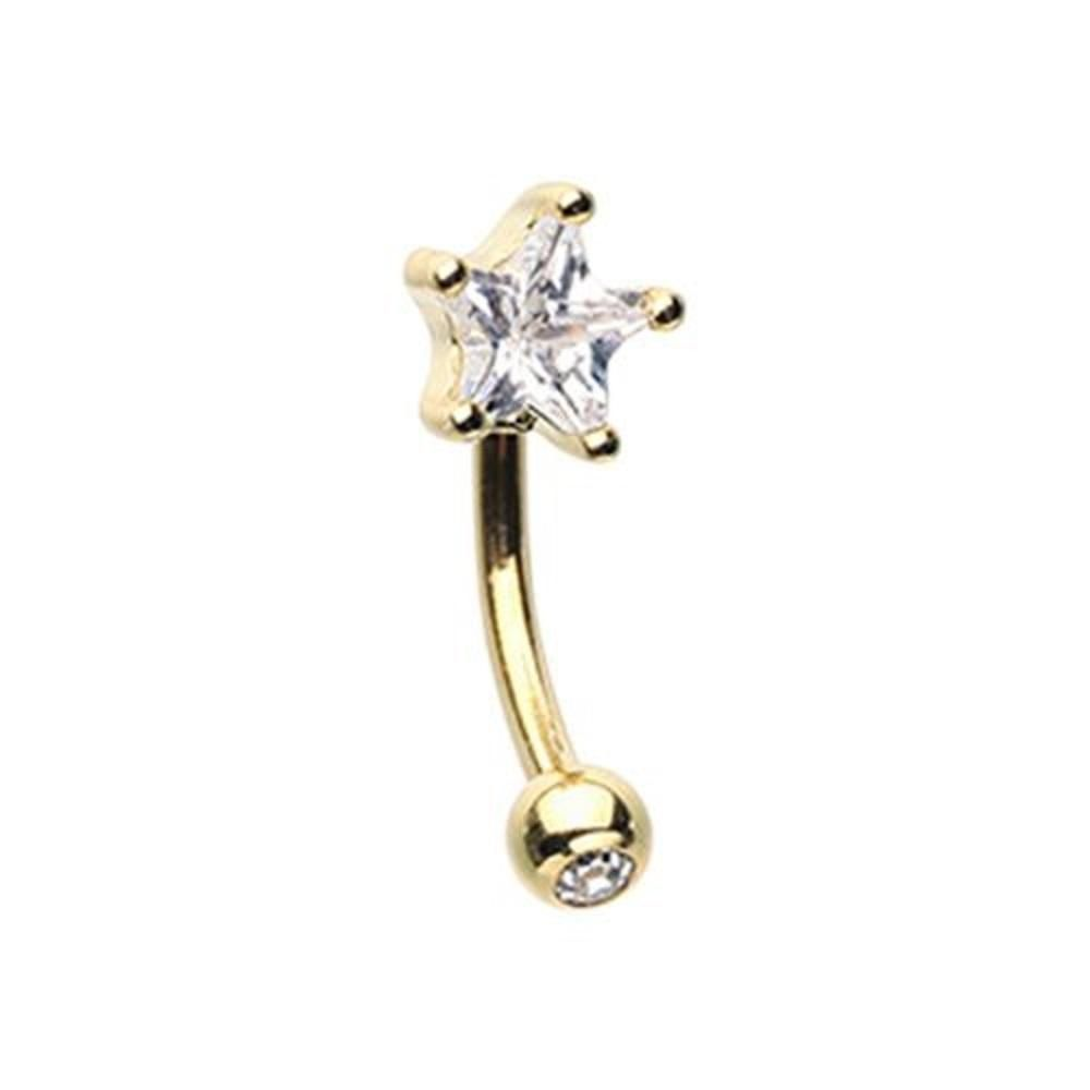 Golden Star WildKlass Curved Barbell Eyebrow Ring