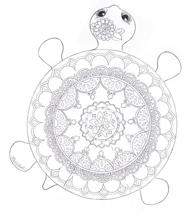 Coloriage Mandala De Tortue.Mandala Turtle Coloring Page Activites Centre Coloriage