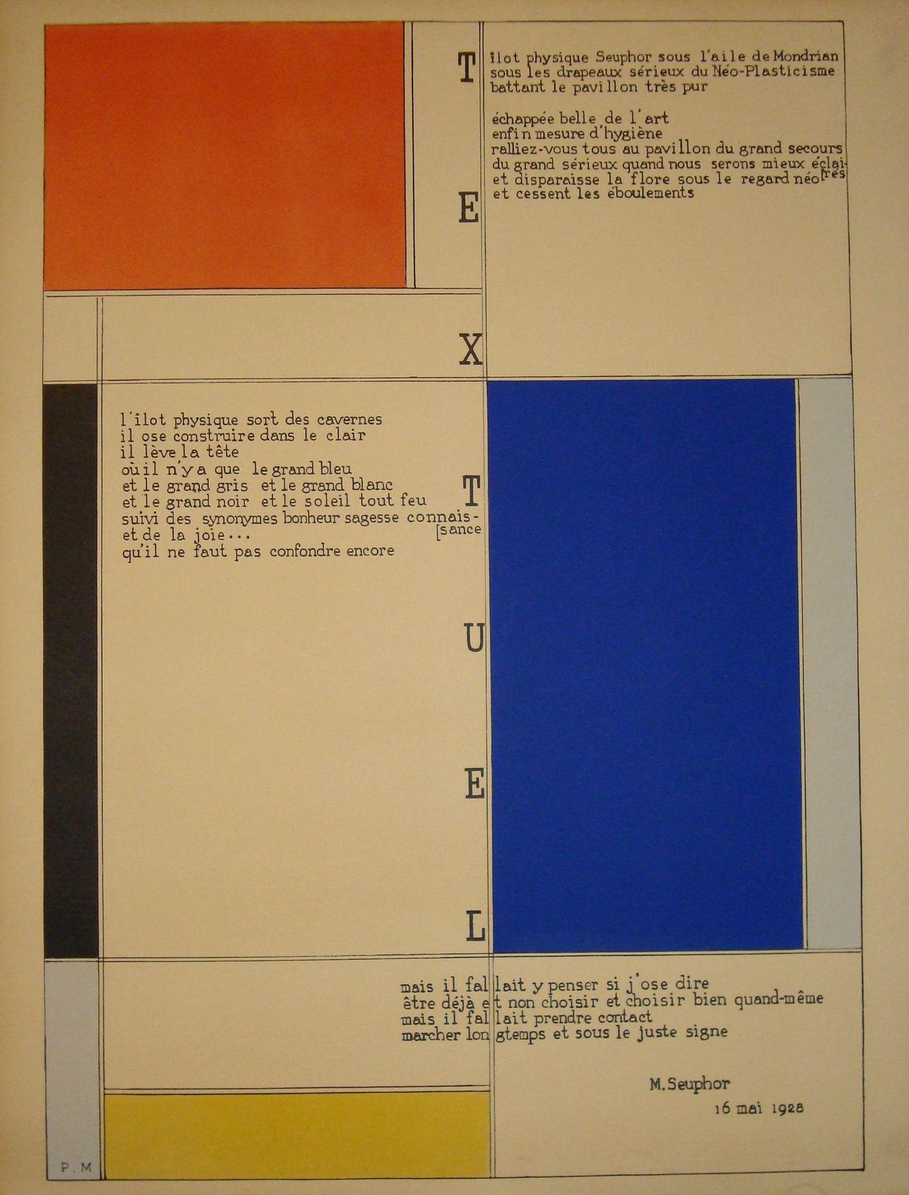 """MONDRIAN (Piet) et SEUPHOR (Michel).  """"Textuel"""" (1928). Lithographie en couleurs tirée sur papier vélin, d'après le tableau-poème de 1928. Impression exécutée sous la surveillance de Michel Seuphor en 1952. Tirage limité à 120 ex. N.Y., Sarah Gentle, 1952, dim. support : 64,5 x 49,5 cm sujet : 61,5 x 43 cm"""