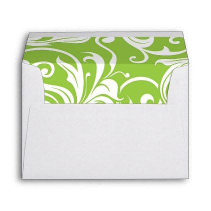 Yummy Avocado Green Floral Wallpaper Pattern Envelope - pattern - sample small envelope template