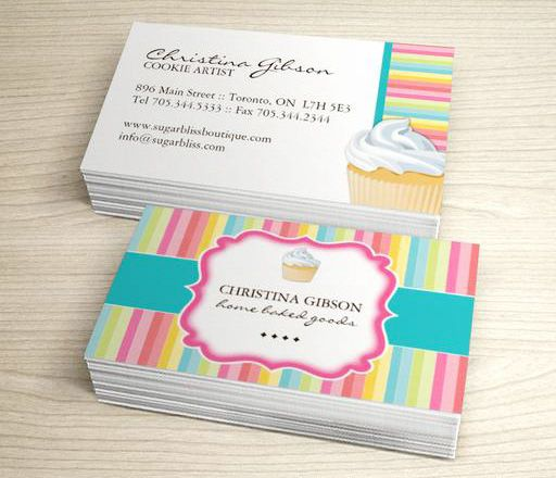 Whimsical Cupcake Business Cards This Great Business Card Design - Cupcake business card template