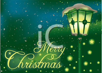 Royalty Free Clipart Image of a Christmas Greeting With an Antique Lamp