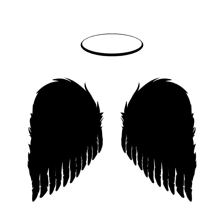 Black Angel Wings And Halo Vector Png And Jpgs Included Black Angel Wings Black Angels Angel Vector