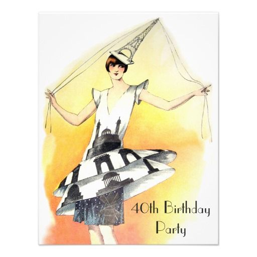 Vintage Girl in Eiffel Tower Costume 40th Birthday Personalized Announcements
