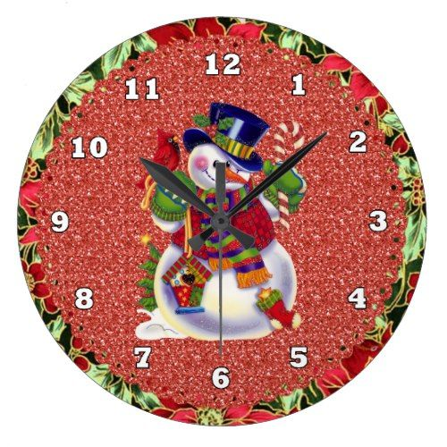 Christmas Snowman Clock Zazzle Com Christmas Snowman Snowman Clock