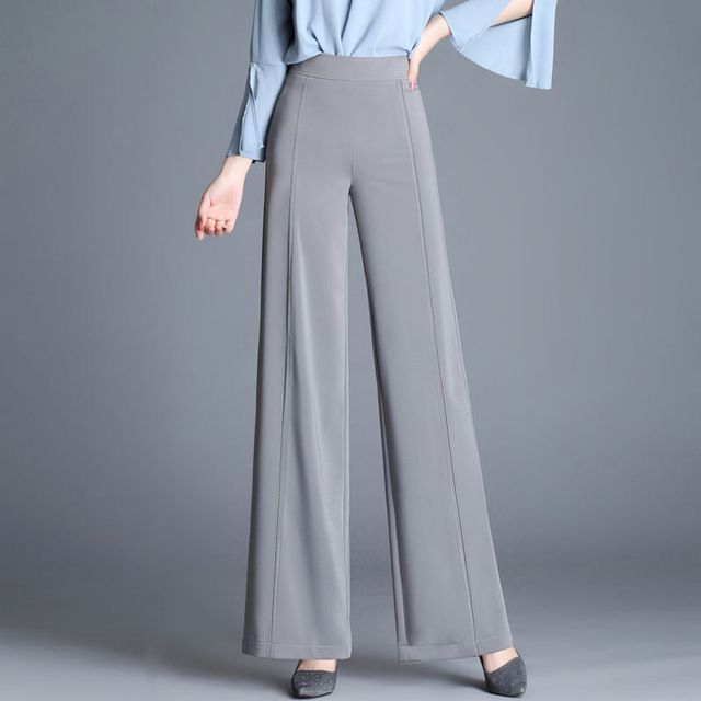75457d73f043 2018 New Women Straight Fashion Wide Leg Pants High waist Female Loose  Office Lady Thin Trousers For Spring Summer Solid Color  ootd  women   WideLegPants ...