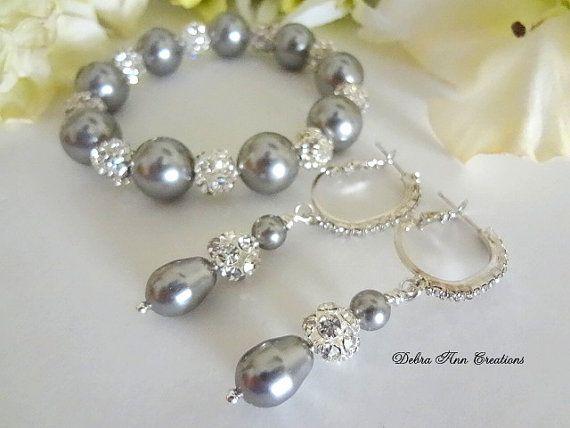 Grey Pearl Bracelet and Earring Grey Wedding Jewerly Pearl Jewelry
