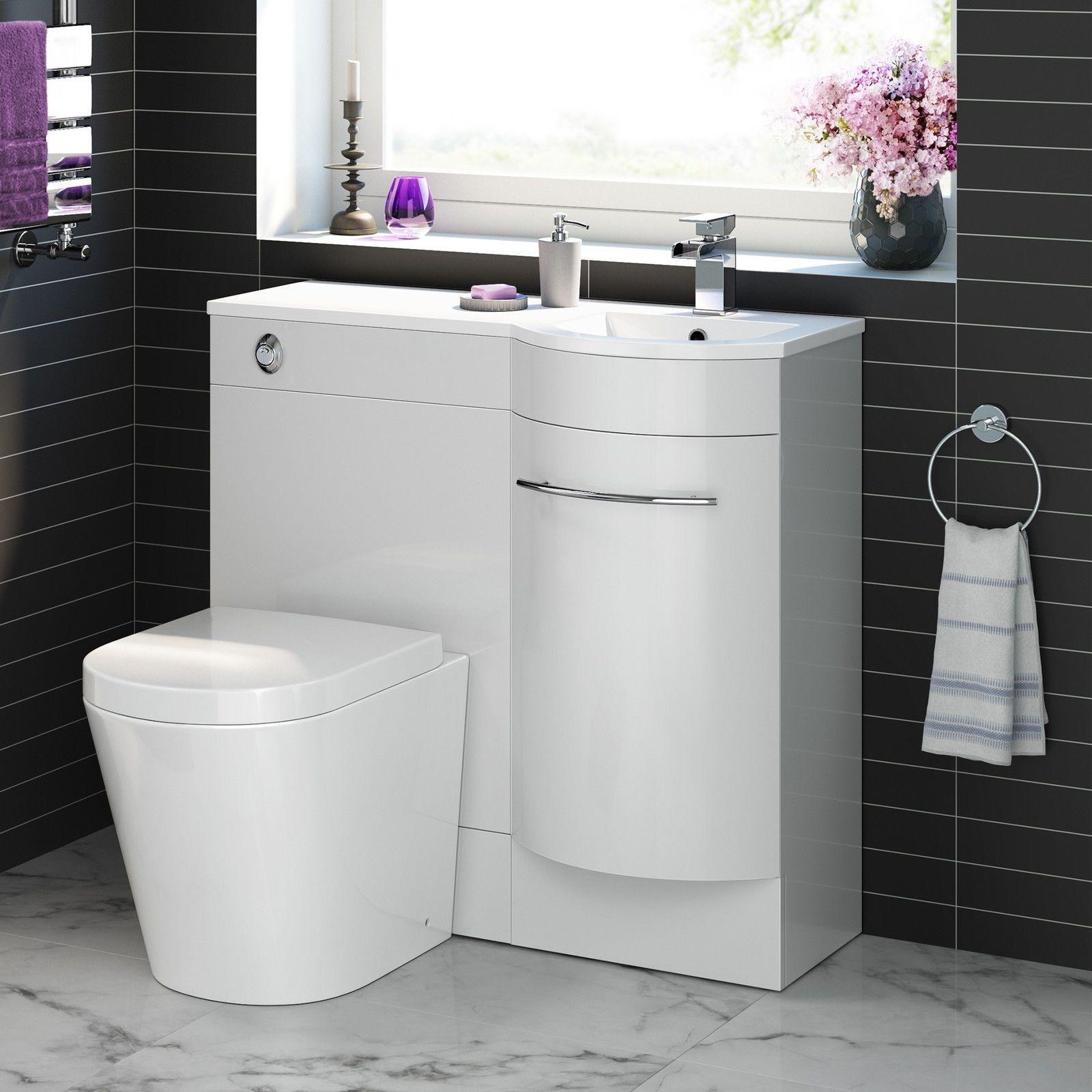 Modern Bathroom White Vanity Unit Countertop Basin + Back ...