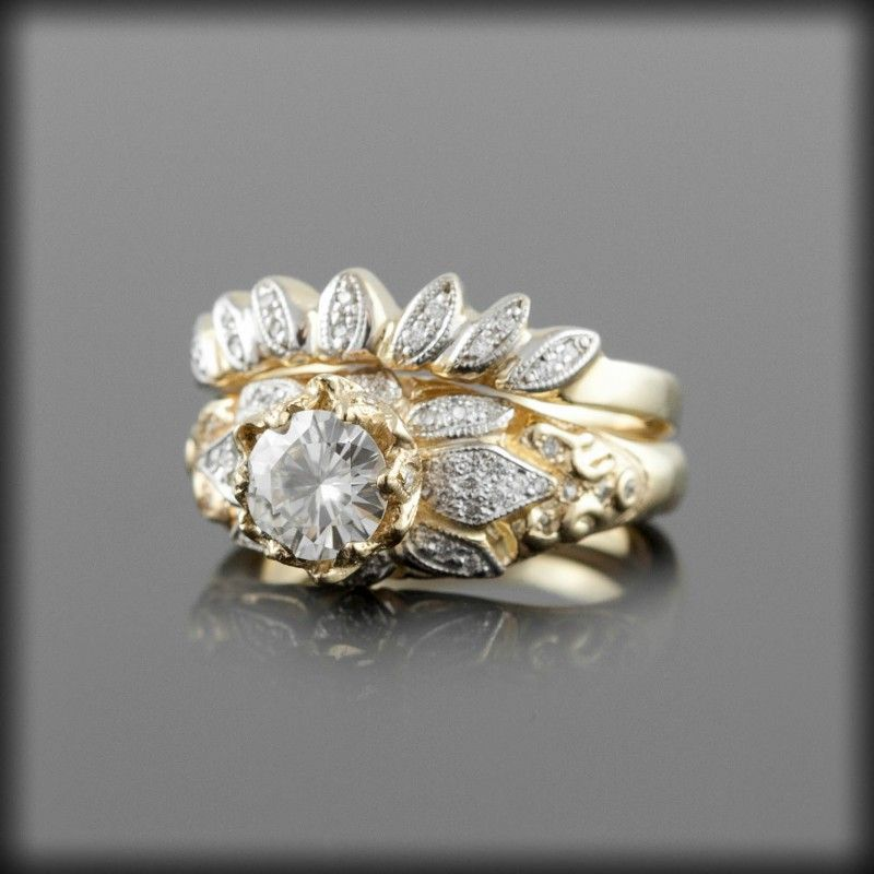 Moissanite Lotus Blossom Engagement Ring with Pave Diamond Lotus Blossom Wedding Band - Diamond Alternative Ring - LS2637
