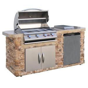 Cal Flame 7 ft. Stone Grill Island with 4-Burner Stainless Steel Propane Gas Grill-LBK-701-S-O-H at The Home Depot