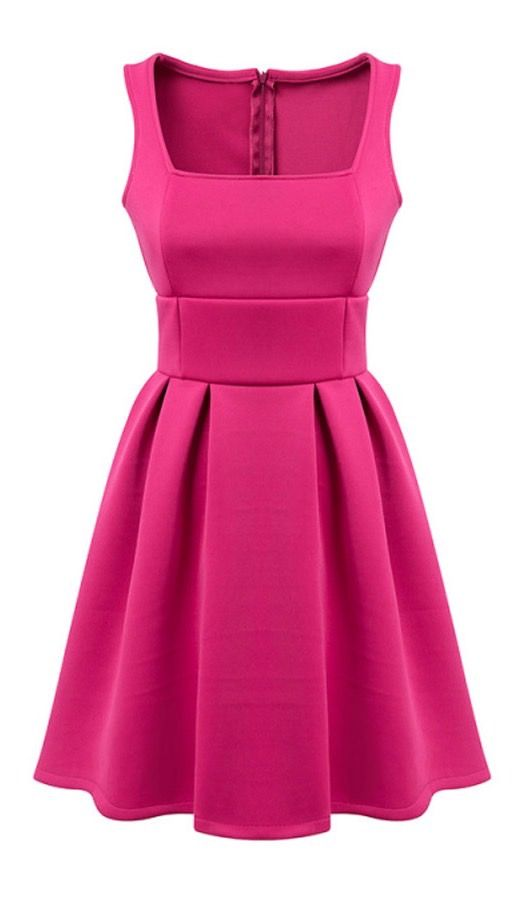 Square Neckline Fitted Waist Pleated Sleeveless Dress