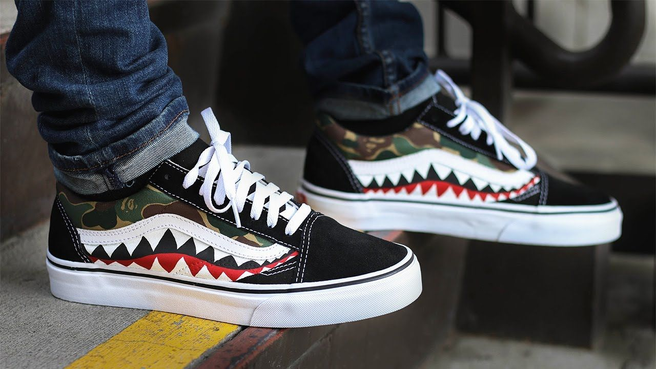 BAPE Shark Tooth Custom Vans Old Skool  80396be6b