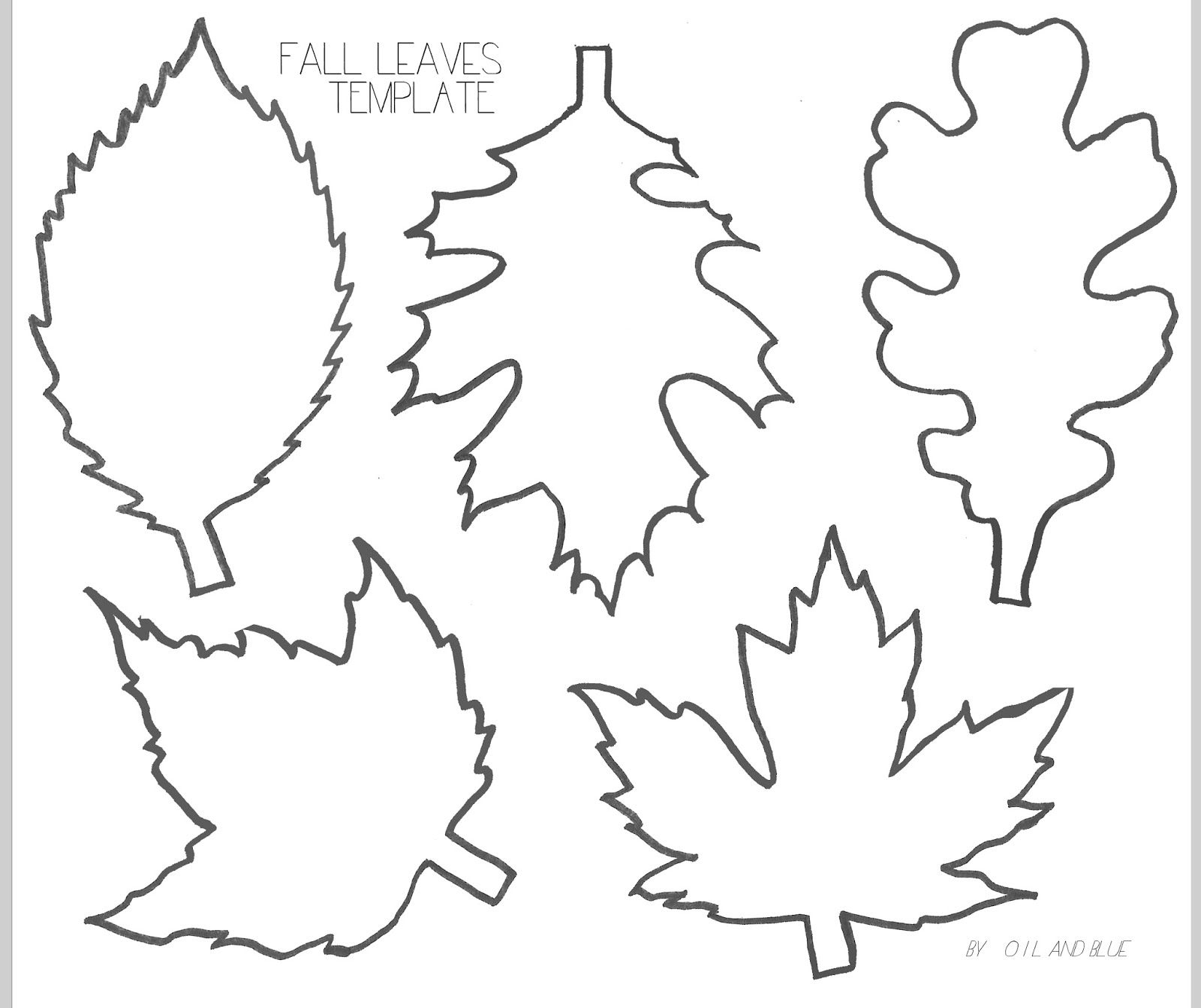 oil and blue fall leaf line drawing template for fall crafting