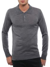 Pull Homme 100% Merinos Gris Col Polo à Boutons