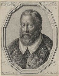 Ottavio Leoni (Il Padovano)(Rome, 1578-1630) ~ Ludovico Leoni of Padua, painter and celebrated sculptor of all portraits ~ Engraving, 1625 ~ The artist's father, Ludovico (1542-1612) was known from his birthplace as 'il Padovanino', a nickname also applied to his son. He is the only subject in this series not living when the engraving was made. Ludovico worked in Rome, where Baglione records that he was 'distinguished during the time of Pope Paul.Ludovico also made medals and engraved seals.