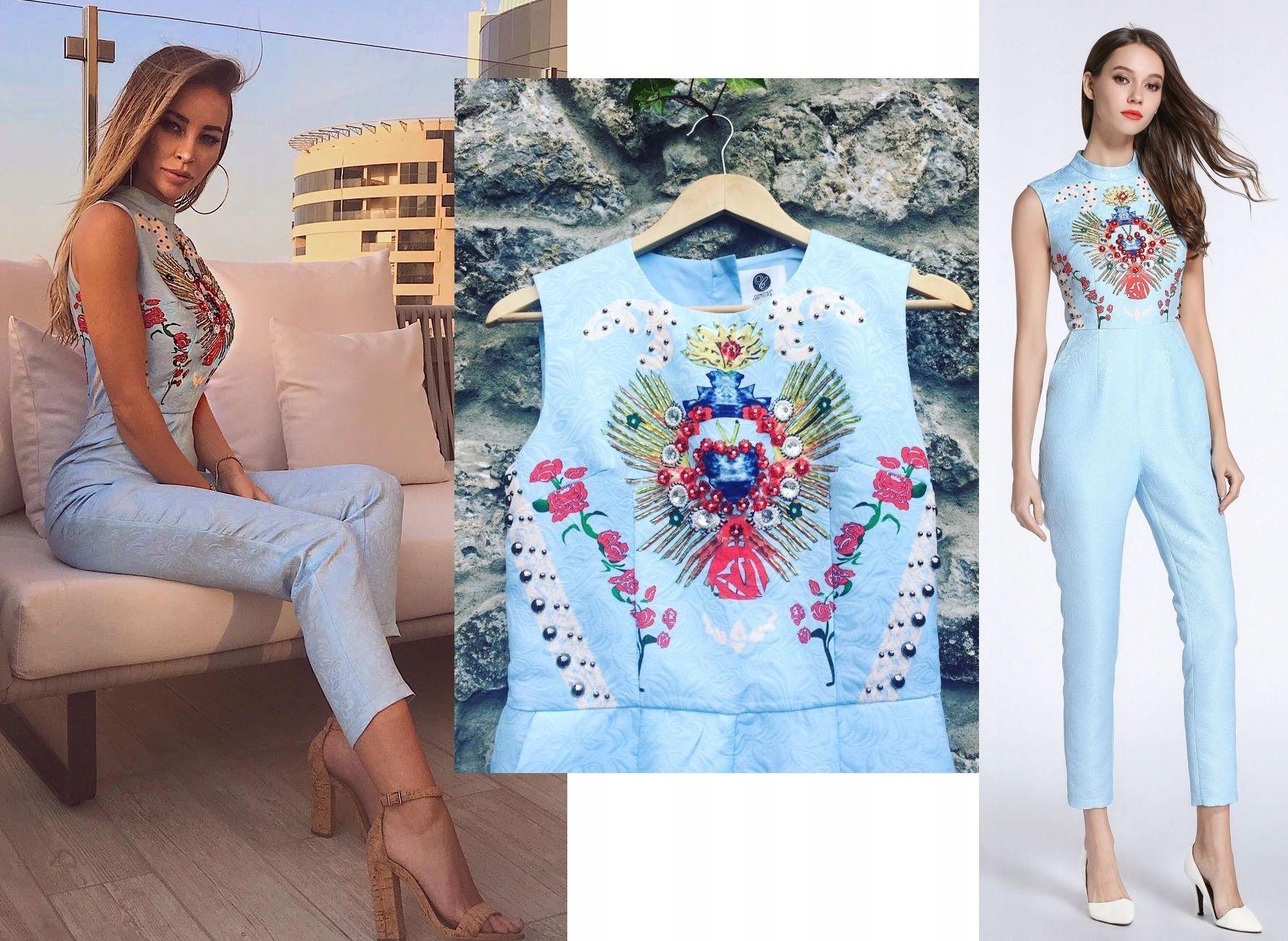 Comino Couture Kombinezon Niebieski Kwiaty 40 L 12 7897857277 Oficjalne Archiwum Allegro Fashion Dresses Cover Up