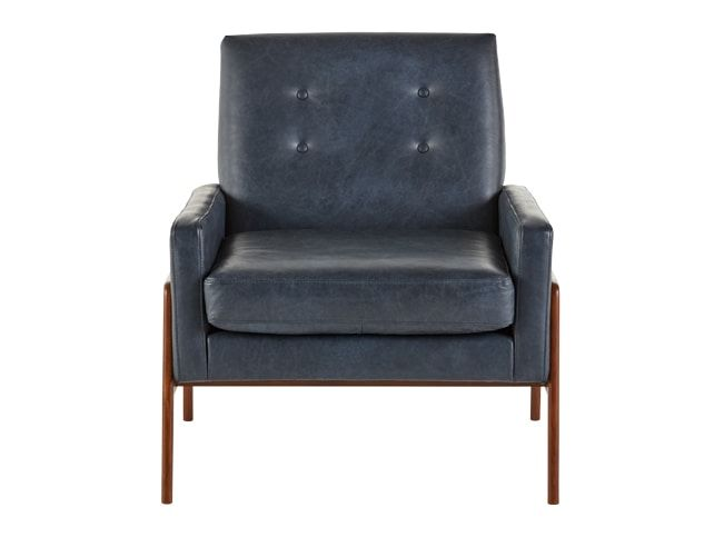 Best Cecil Accent Armchair Oxford Blue Premium Leather Blue 400 x 300