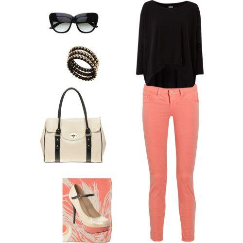 Coral jeans, black, tan, cat eye sunglasses. love.