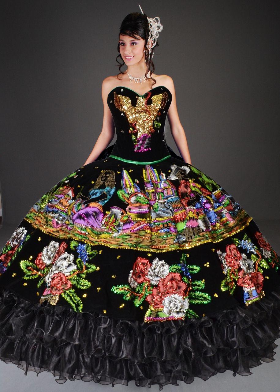 Charra China Poblana Black Quinceanera Dress 10100bk