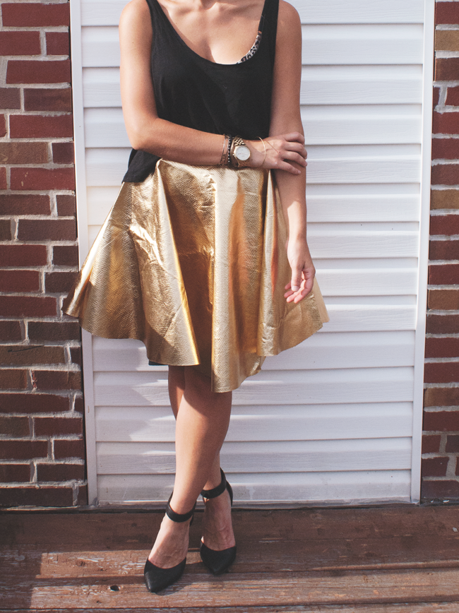 metallic no sew circle skirt DIY