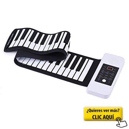 ammoon Silicona Port/átil 88 Teclas Roll Up Piano Electr/ónico Teclado USB Built-in Li-ion y Altavoz con un Pedal