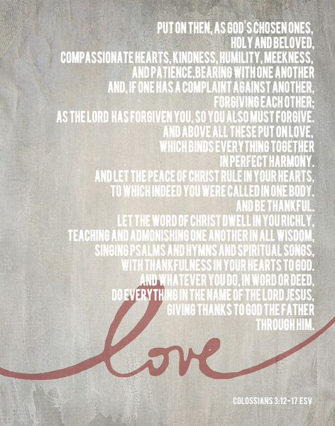 The Verse Read At Our Wedding Colossians So Beautiful