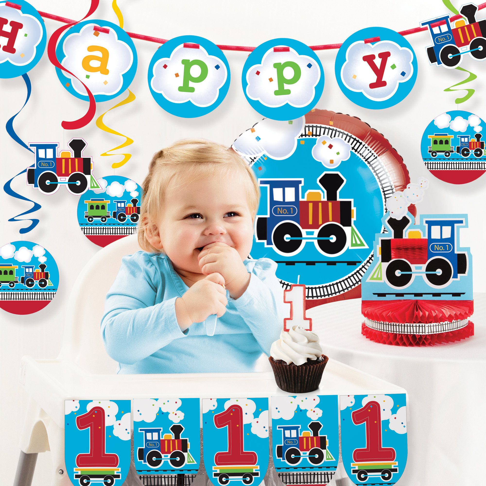 All Aboard Train First Birthday Party Decoration Kit