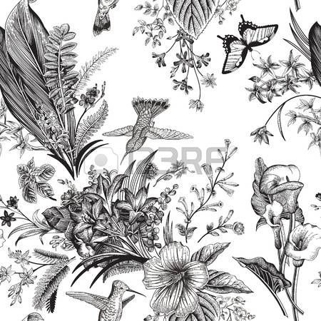Stock Photo Floral Floral Pattern Wallpaper Exotic