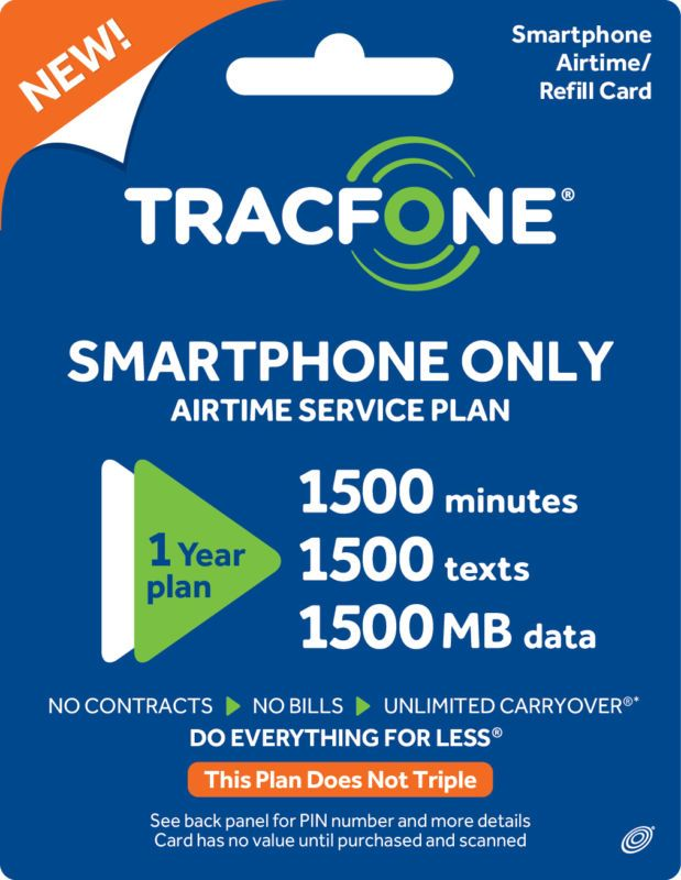 Tracfone Smartphone Only Plan 365 Days 1500 Talk 1500 Text 1500mb Data Buy Directly From Tracfone Talk Prepaid Cell Phone Plans Prepaid Phones Smartphone