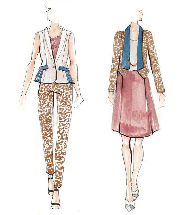 Fashion designing dresses drawing coloring