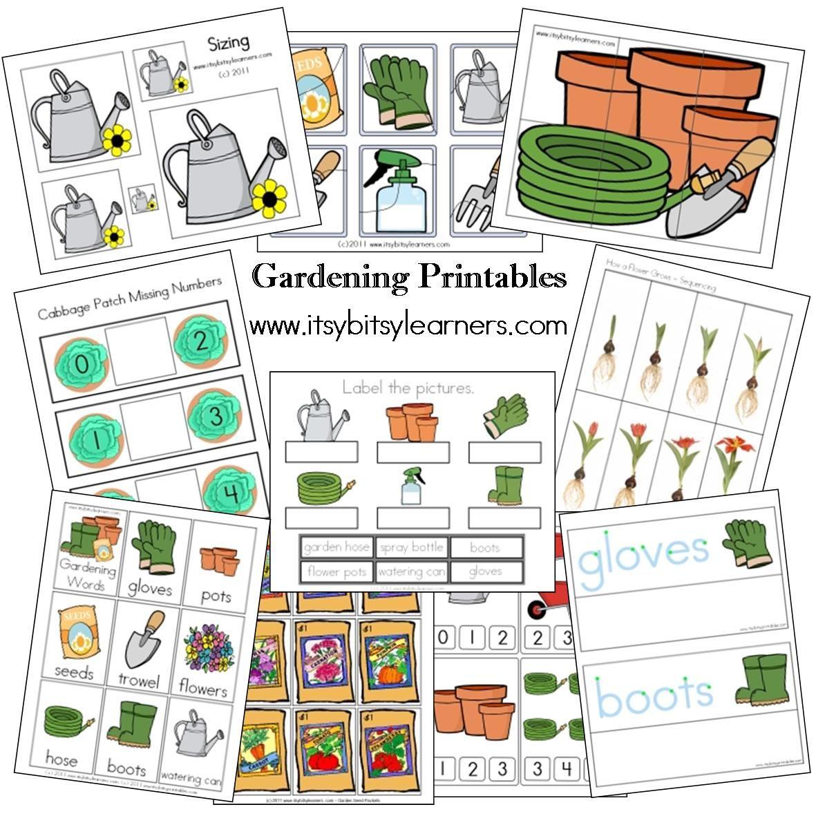 Gardening Preschool And Prekinder Printables