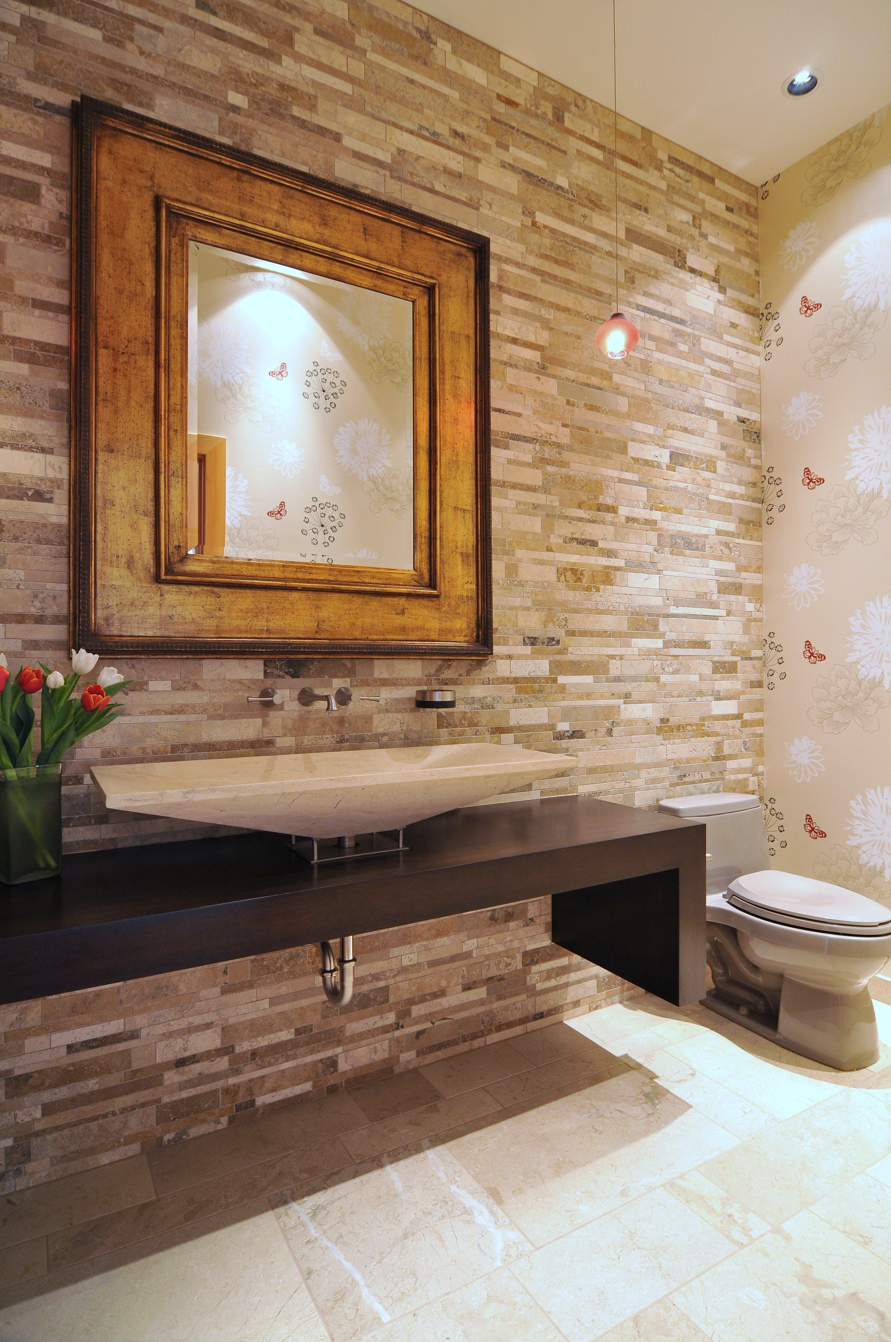 22 Eclectic Ideas Of Bathroom Wall Decor: Powder Room With Full Height Backsplash And Eclectic Wall