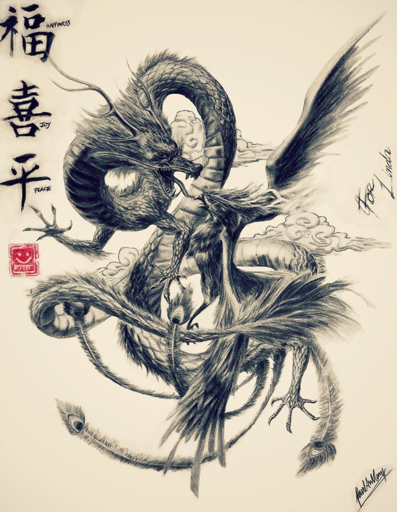 epic phoenix and dragon would make a great tattoo japanese art pinterest phoenix dragons. Black Bedroom Furniture Sets. Home Design Ideas
