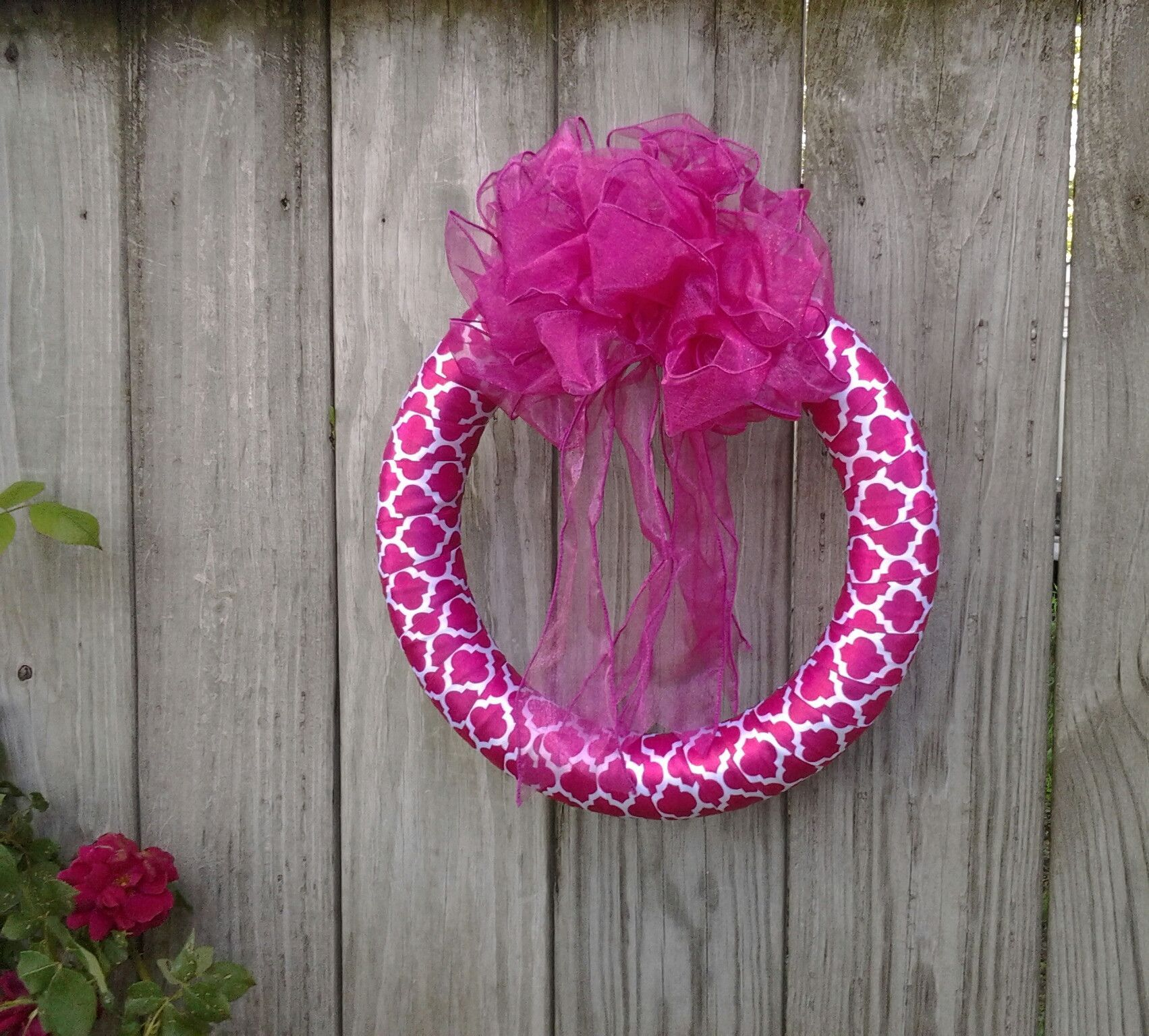 """Wild Raspberry"" Ribbon Wreath"