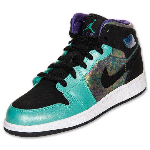 online store a5f29 48829 nike jordan shoes for girls   NIKE Girls  Grade School Air Jordan 1 Mid  Basketball Shoes, Teal Black .