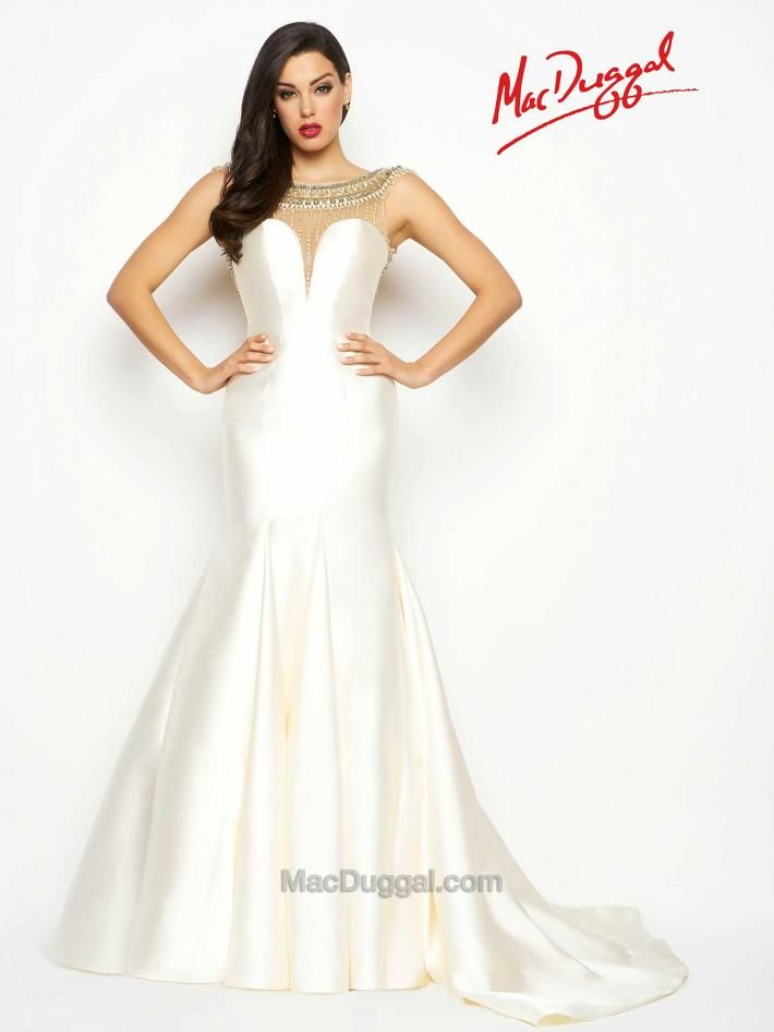 White pageant gowns are a classic go-to. This Dutch satin, illusion ...