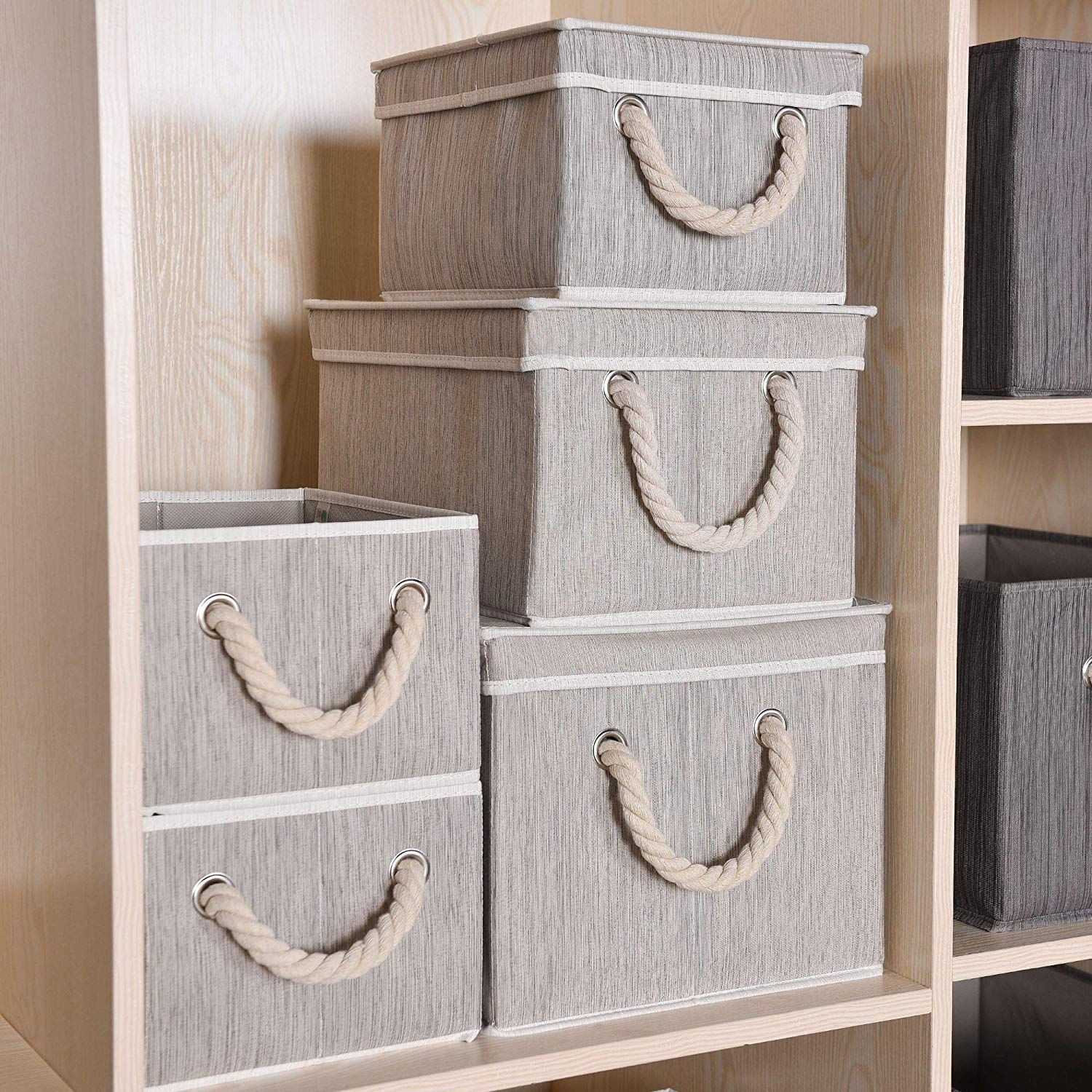 Amazon Com Storageworks Storage Bins With Lid And Cotton Rope