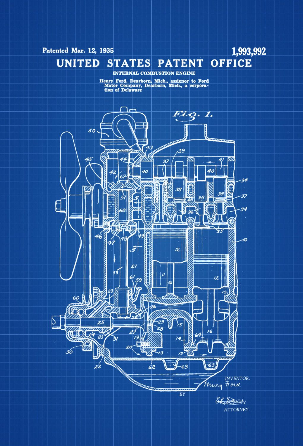 Ford Internal Combustion Engine Patent 1935 Print Wall Diagram Printable A Poster Of Invented By Henry The Was Issued United States Office On March 12