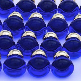 lots of blue glass cupboard knobs smooth design brass backs http