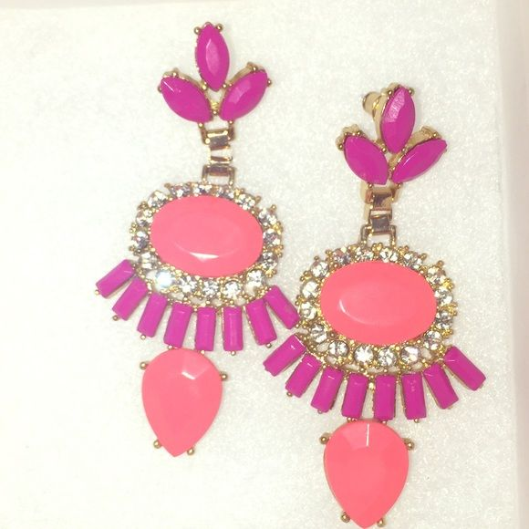 Fashion earrings Coral & magenta( purple-ish) Gold base, rhinestones. Not heavy. Accessories