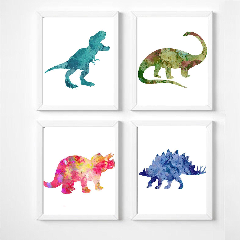 Bilderset Dinosaurier Dinosaur Poster Kinderposter A4 Dinoposter Kinderzimmer Aquarell Dinosaur Posters Dinosaur Print Dinosaur