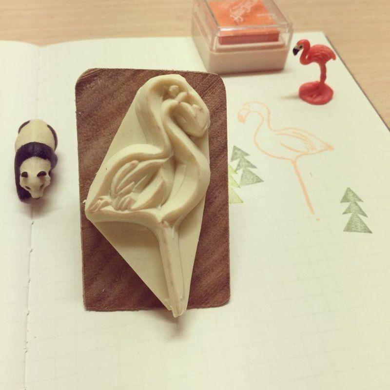 Flamingo eraser stamp*handmade*rubber stamp*handmade stamp*hand carved - TAll.Be - Stamps & Stamp Pads #eraserstamp