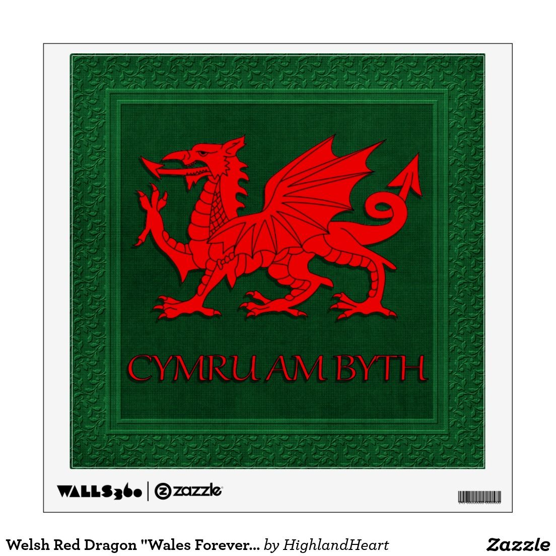 Welsh Red Dragon Wales Forever 12x12 Wall Decal Red Dragon Personalized Wall Decals Poster Prints [ 1104 x 1104 Pixel ]