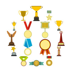Trophy And Awards Flat Icons Set Vector Image On Vectorstock Flat Icons Set Icon Set Vector Icon Set